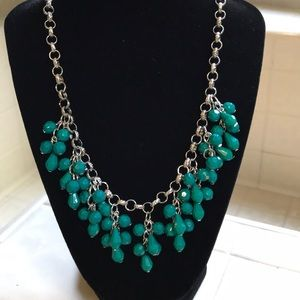 Gorgeous teal/green and silver necklace
